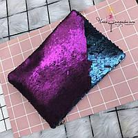 Клатч меняющий цвет матово-розовый + матовый темно-синий