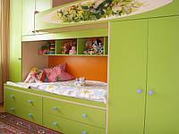 Кровать двухярусная, шкаф, ящики, ручная роспись., фото 1