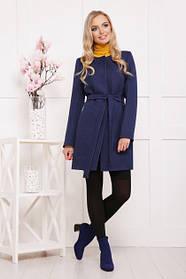 Короткое женское пальто темно-синий горох 42-48