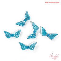 Бусина разделитель 20х9мм форма крылья для рукоделия цвет голубой