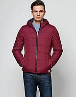Куртка мужская осень-весна бренда Jack Jones бордовая на замке с капюшоном