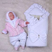 Зимний набор для новорожденного Мария+Little beauty белый с розовым(62)