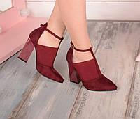 Туфли марсала Резинка-замша на устойчивом каблуке код 19653, фото 1