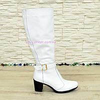Сапоги женские кожаные, устойчивый каблук. Белый цвет., фото 1