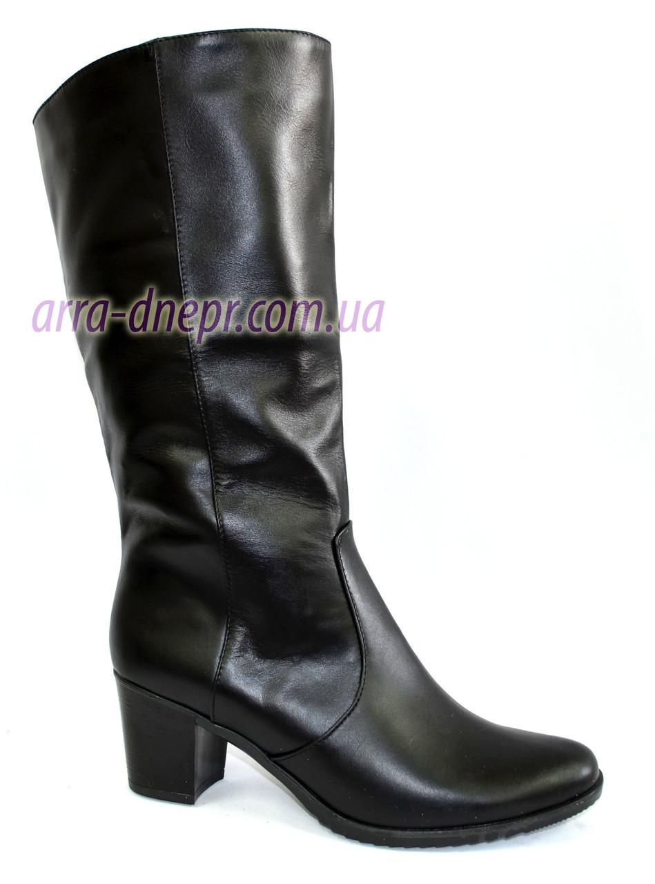 Черные кожаные сапоги с широким голенищем, фото 1