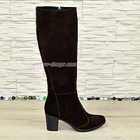 Сапоги коричневые замшевые женские на устойчивом каблуке, с широким голенищем., фото 1