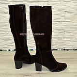 Сапоги коричневые замшевые женские на устойчивом каблуке, с широким голенищем., фото 3