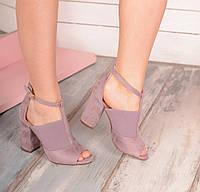Туфли серые Резинка-замша с открытым носиком код 19650, фото 1
