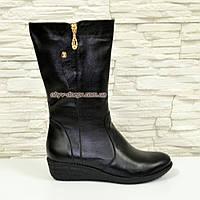 Женские ботинки на невысокой платформе, натуральная черная кожа. Широкая голень!, фото 1