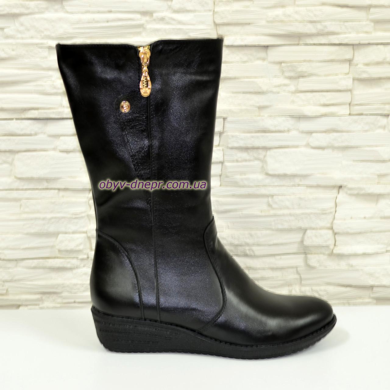 Женские ботинки на невысокой платформе, натуральная черная кожа. Широкая голень!