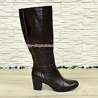 Сапоги коричневые кожаные женские на устойчивом каблуке, с широким голенищем., фото 1