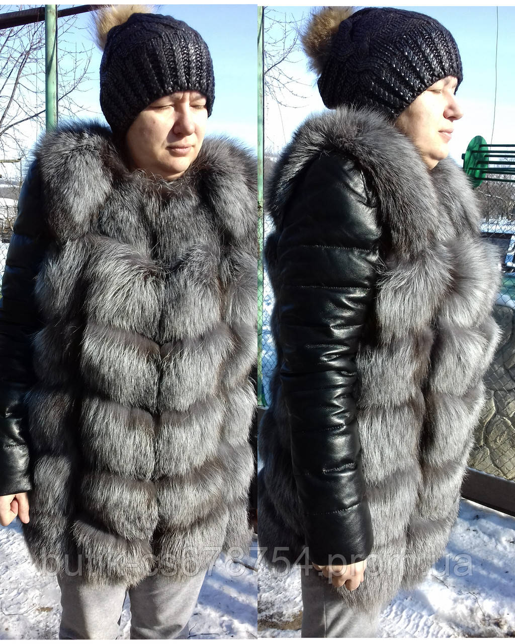 Куртка с мехом чернобурки 2в1 жилет