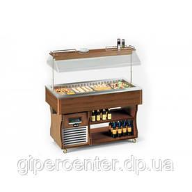 Салат-бар холодильный островной Apach ABR4 ISOLA (вместимость 4 GN1/1, +4…+10°С, темный орех)