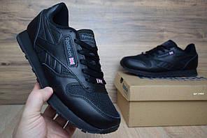 Мужские кроссовки Reebok Classic, черные, кожа + четка