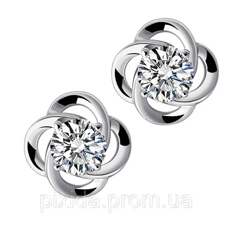 Сережки-гвоздики цветочек циркон покрытие 925 серебро проба в 2 цветах