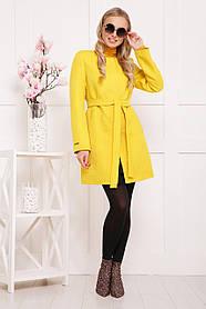 Короткое женское пальто желтый горох 42-48