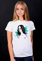 """Белая футболка женская с принтом""""Девушка"""" спортивная хлопковая стильная летняя"""