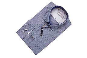 Голубая рубашка с синим узором KS 1758-1 разм. M, фото 2