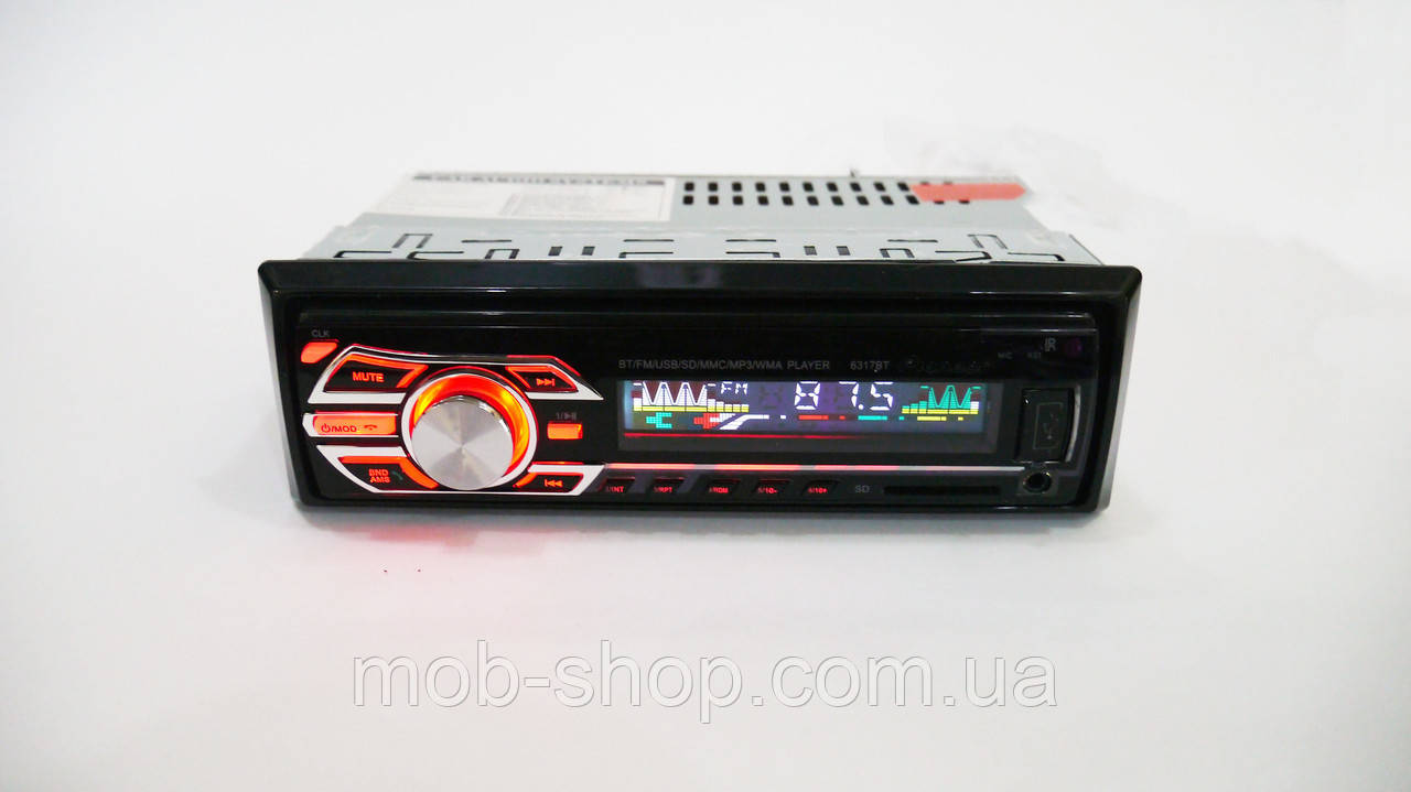 Автомагнитола пионер Pioneer 6317BT Bluetooth Usb+RGB подсветка+Fm+Aux+ пульт