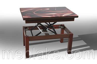 """Стол-трансформер """"Флай"""" со стеклом для кухни  Микс Мебель"""