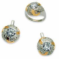 Гарнитур из серебра с золотыми вставками, модель 050