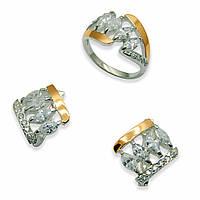Гарнитур из серебра с золотыми вставками, модель 052