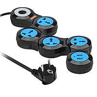 Сетевой фильтр-удлинитель Promate Powerstrip-2 4 розетки + 2 USB-порта 3 м