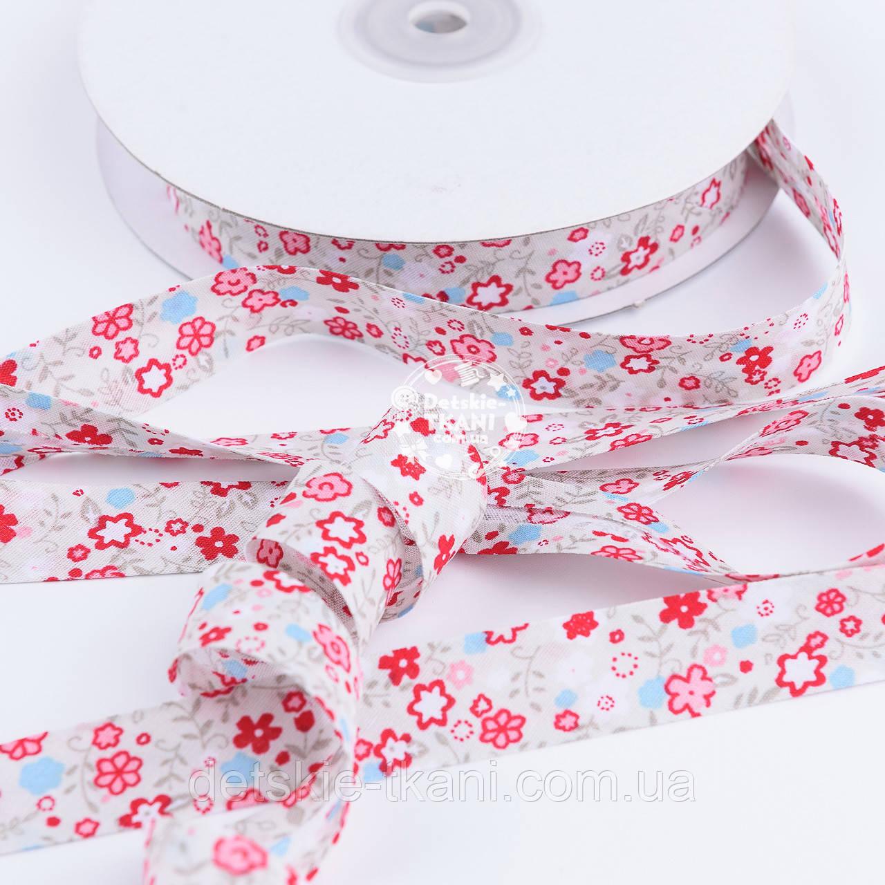 Косая бейка из хлопка с красными цветочками, ширина 15 мм.