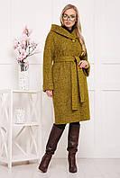 Желтое шерстяное пальто с капюшоном