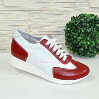 16cfe9e9 Туфли-кроссовки кожаные женские на утолщенной подошве, красный/белый цвет.