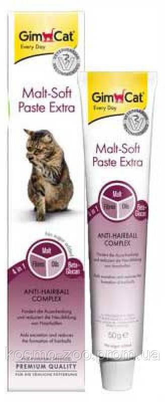 Паста ДжимКет (GimCat Malt-Soft Extra) для выведения шерсти у кошек 100 гр