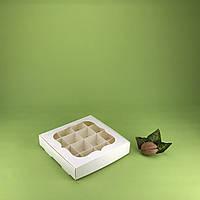 Коробка 150*150*30 для конфет с окном, пудра
