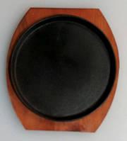 Сковорада чугунная на подставке для подачи, круглая
