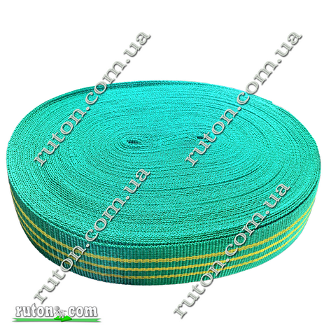 Зеленая капроновая лента 40 мм 50 м буксировочная для стяжных ремней 2т на разрыв, фото 2