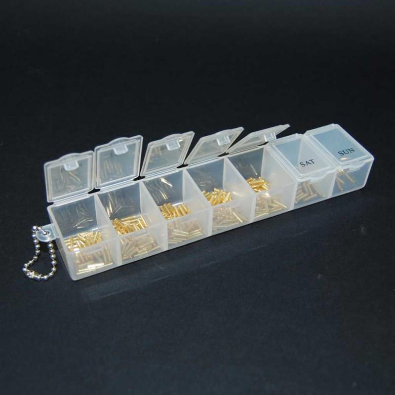 Органайзер для рукоделия 7 отделений 35 х 155 мм (таблетница) прозрачный