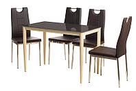 Стол обеденный прямоугольный Т-300-11 металлический каркас молочного цвета, каленое стекло шоколад 110х60х75