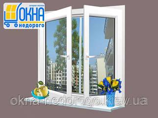 Двухстворчатое окно Rehau 70