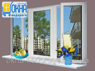 Трехстворчатое окно Rehau 70