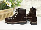 Ботинки женские демисезонные на низком ходу, натуральная коричневая замша, фото 3