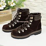 Ботинки женские демисезонные на низком ходу, натуральная коричневая замша, фото 4