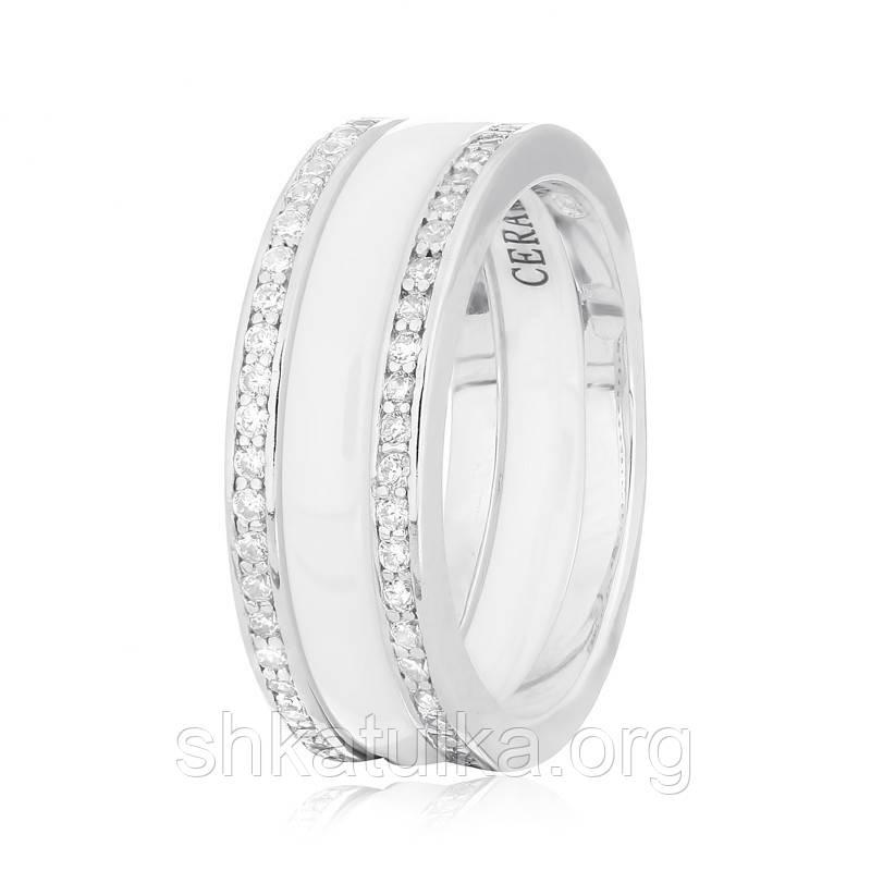 Серебряное кольцо керамическое КК2ФК1/1004 - 18,1