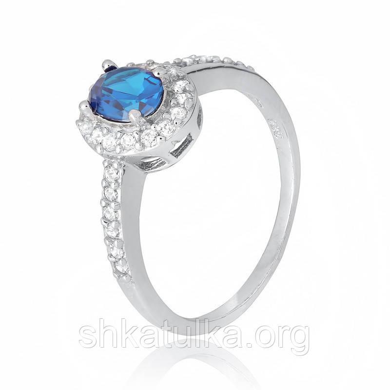 Серебряное кольцо с фианитом КК2ФЛТ/376 - 19,7