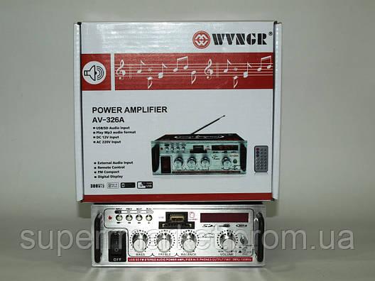 Усилитель (ресивер) рэковый WVNGR AV-326A 50W MP3/SD/USB/AUX/FM 12v/220v, фото 2