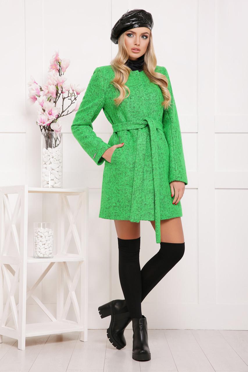 Зеленое шерстяное пальто без воротника