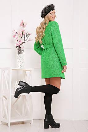 Зеленое шерстяное пальто без воротника, фото 2