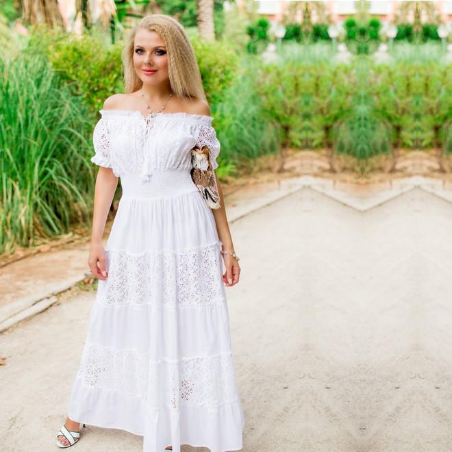 9292fe9ba31 Шикарное белое платье в пол для лета 640 F - Интернет-магазин Леди-лайн