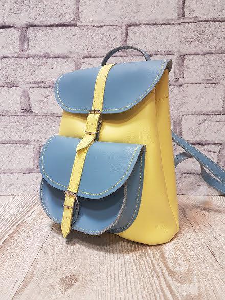 Рюкзак женский натуральная кожа желто-голубой 1624
