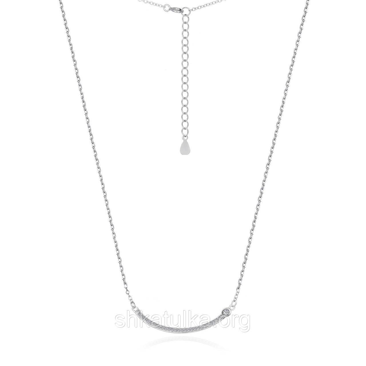Серебряное колье с фианитом - Кл2Ф/710