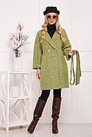 Шерстяное пальто лимонного цвета
