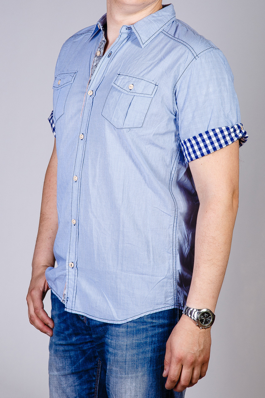 Рубашка с коротким рукавом мужская SCOTFREE SCOTFREE 208.01.15.53 BLUE